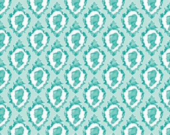 Ardently Austen Silhouette Teal by Riley Blake Designs - Jane Austen Cameo - Quilting Cotton Fabric - by the yard fat quarter half