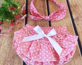 Polka dot diaper cover, pink, girly diaper cover, ruffles, newborn, babygirl, nappy cover, headband, polkadots,