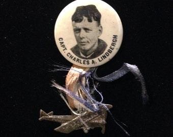 "1927 original ""Charles Lindbergh"" first flight pin back pin button. Photo card of Charles Lindbergh and his mother."