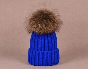 Big Fox Fur Balls Hat Fluffy Large Pom Poms Cute Hat Cotton Women Hats Brown Puffs Fuzzy Hat BLACK tips Pom pom Knit Beanie for Women