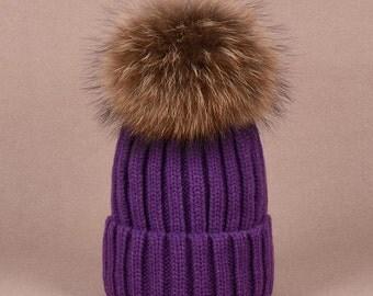 Big Fox Fur Ball Purple Hat Fluffy Large Pom Poms Violet Cotton Women Hats Coffee Puffs Fuzzy BLACK tips Pom pom Knit Beanie for Women