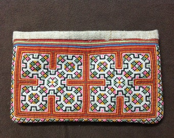 Old Vintage H'mong  Embroidered Purse Batik Hill Tribe