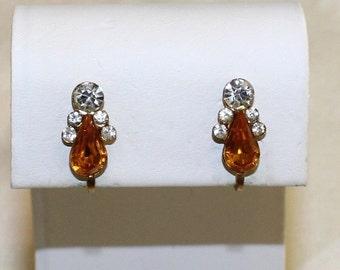 Vintage, Amber and Clear Rhinestone Earrings
