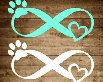 Infinity pet love decal, infinity decal, pet decal, paw print decal, heart decal, infinity yeti decal, pet yeti decal, dog decal, cat decal