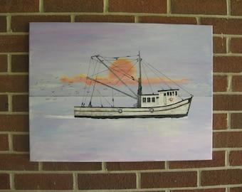 Shrimp Boat Painting On Sale Sunrise Ocean Sunset Ocean Custom Boat Painting Personalized Painting