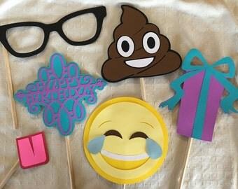 Custom handmade Emoji photo booth prop package, number one