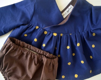 Baby Crossover Dress with Gold Dots & Bloomers