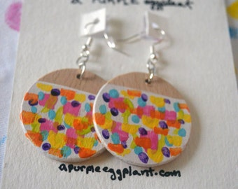 Hand-painted wooden earrings