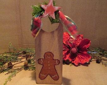 Primitive/rustic wooden Christmas doorknob hanger