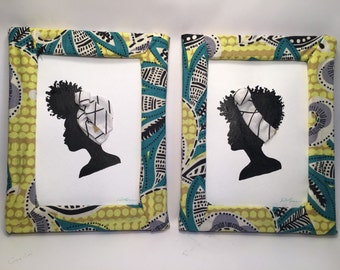 African fabric wrapped frames each one 5x7""
