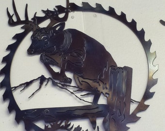Metal art,  deer metal art wall hanging, deer metal art, deer art,  deer wall decor deer gift