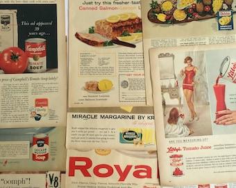 Lot of Vintage 1960s Grocery Ads - 1960s Advertising  - Vintage Magazine Ads - Campbell's, Dole, V8, Kraft, Heinz, Royal Pudding - Libby's