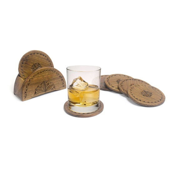Set Of 6 Hand Carved Wooden Coasters Rustic Drink Holders