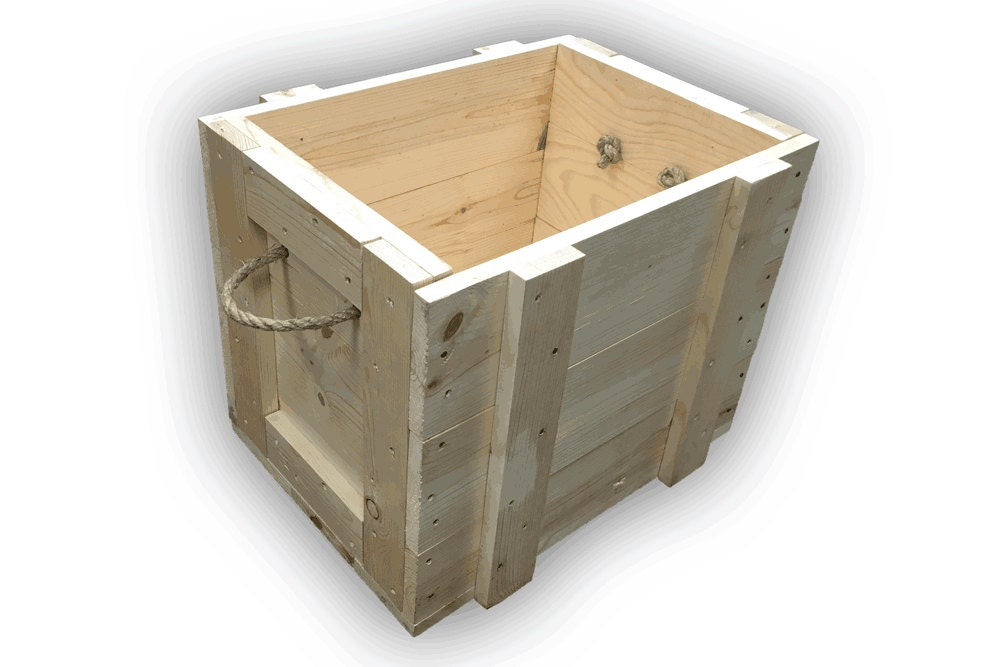 Wood Boxes With Rope Handles ~ Pine wood box with rope handles