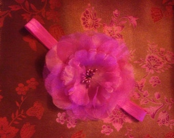 Fushia/Hot Pink Colored Headband with Flower