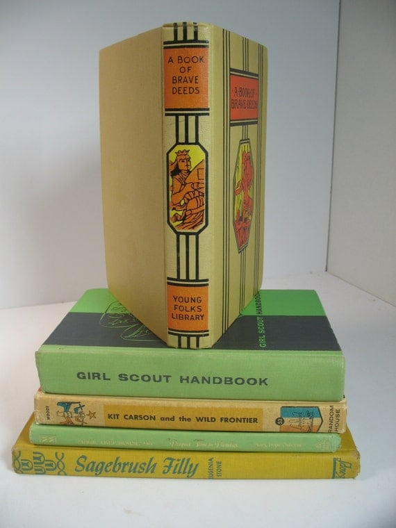 Vintage 5 book decorative display set girl scout - Decorative books for display ...