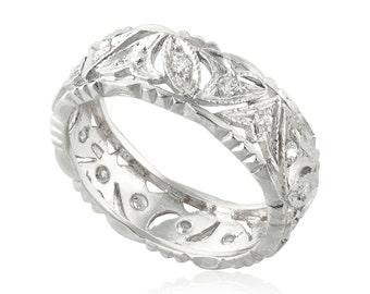 Vintage Classic Engraving Wedding Ring, 14K White Gold Wedding Band, 0.24 CT Vintage Diamond Ring, Unique Wedding Band