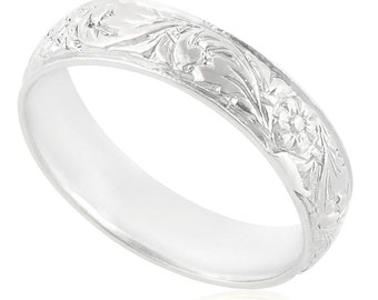 14K White Gold Leaf Band Ring Wedding Band Men Women Fashion