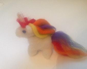 Unicorn! Hand needle felted sculpure. Valentines