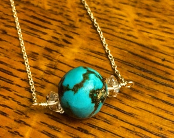 """Turquoise ball with Herkimer Diamond necklace, 20"""""""