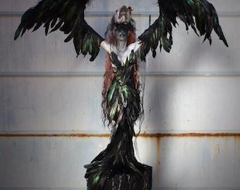 The Morrigan - handmade crow goddess sculpture