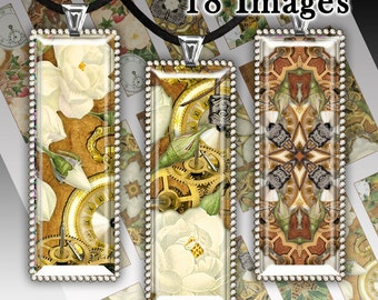 Shabby flowers - 1x3 inch Images. Vintage -Digital collage sheet. Digital Collage Sheet Printable Download for pendants magnets paper goods.