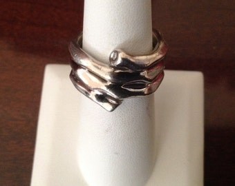 HOT DIAMONDS Sterling Silver Ring with Diamonds...Size 7