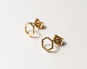 Gold Hexagon Stud Earrings / Dainty Geometric Earrings / Tiny Hexagon Earrings