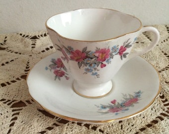 Vintage Teacup and Saucer | Clarence Bone China | Made in England
