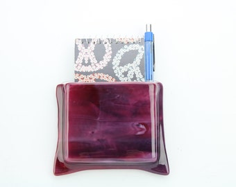 Cranberry glass hanging notepad holder - Glass hanging flower vase - Purple glass vase - Hanging pen holder - Small glass flower vase