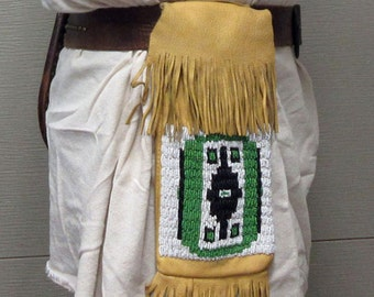Hand-beaded Deerskin Belt Bag for Pow Wow, Blackpowder Mountain Man Rendezvous