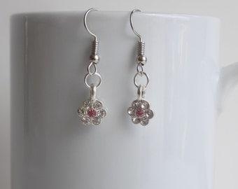 Charming flower charm earrings
