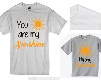 You are my Sunshine Tee Shirt Combo Design, SVG, DXF, EPS Vector files for use with Cricut or Silhouette Vinyl Cutting Machines