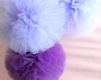 4 x tulle pompoms set -  wedding party decorations pom poms - nursery decor