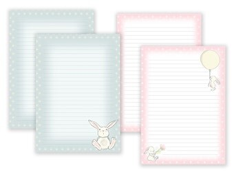 Bunny Printable Writing Paper - Stationary Paper - Letter Writing Set - Bunny Note Paper - Printable Journal Pages, Bunny Scrapbooking Paper