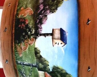 The Rabbit Visit/Half Bucket/Farm Scenery/Barrel/Birdhouse/Hand painted/Bunny Rabbits