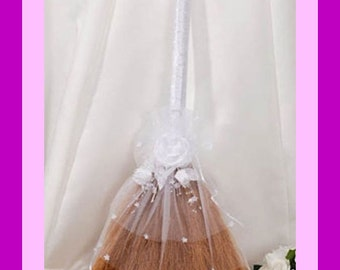 Decorated Jump Broom for Jumping the Broom Ceremony with White Lace