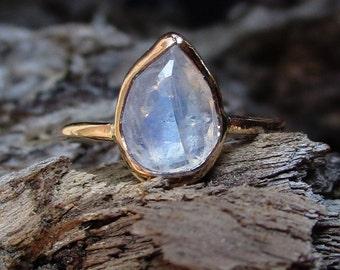 14k Gold Moonstone Ring, Moonstone Engagement Ring, Faceted Moonstone Teardrop, Rainbow Moonstone, Solid 14k Gold