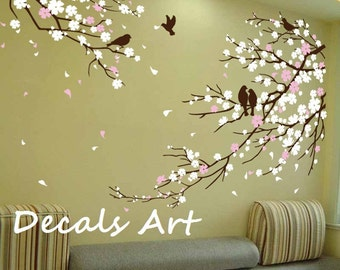 Cherry Blossom Branches with Birds decal Vinyl wall sticker wall decal tree decals wall murals art nursery wall decal Floral blossoms Nature