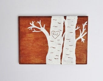 Birch Carved Initial Plaque