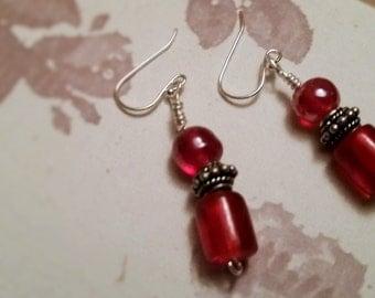 Red Glass Bead Dangle Earrings~Romantic~Victorian~Boho