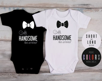 Newborn Photo Prop, Newborn Boy Coming Home Outfit, Mr. HANDSOME HAS ARRIVED Baby Boy Bodysuit, Newborn Boy Props, More Colors Available