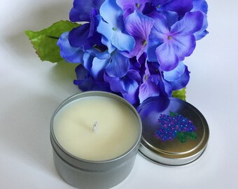 Hydrangea Candle/6oz tin/ natural soywax/ small candle/ hostess gifts/ Mother's Day Gift/ Handpainted/ easter gift