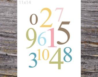 Numbers Nursery Art Print, 11x14 Numbers Print, Bedroom Art Print, Whimsical Numbers Print