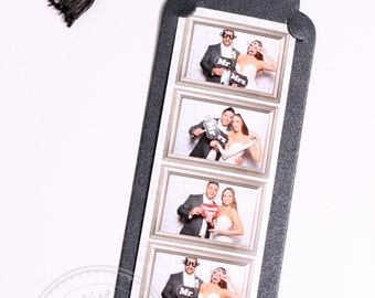 Photo Booth Photo Strip Holder Frame 2x6 Strip Holder Bookmark Style METALLIC BLACK Cardstock with Black & Silver Tassel