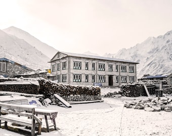 Instant Download Photography,Digital Wall Decor, Snow Photo,Himalayas Picture,Mountain Village Image,Nature Wall Decor,Landscape Photography