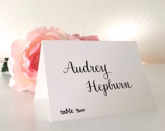 Place Card Calligraphy - White Cards with Black Lettering - handlettered for weddings, special events