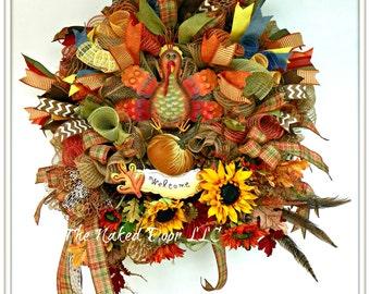 Fall Welcome Wreath - Welcome Wreath - Fall Welcome Decor - Welcome Mesh Wreath - Thanksgiving Wreath - Fall Wreath - Fall Decor - Turkey