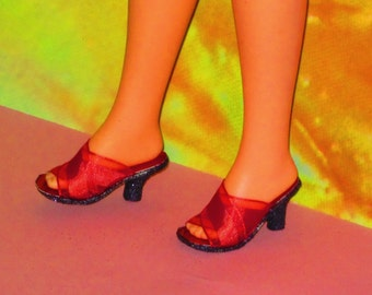 Cynthia doll shoes RED MULES shoes for 1971 Talking Cynthia and Quick Curl Casey by Mattel