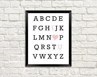 Alphabet Love Print, I love you, Alphabet hearts, Valentine's Day Print, Wedding Decor, Pink - Digital Download